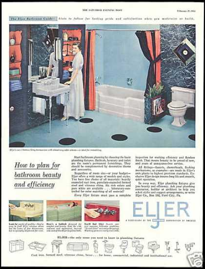 Eljer Bathroom Fixture Vintage Photo (1954)