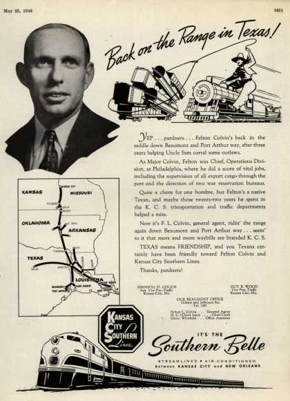 Kansas City Southern Lines – Back on the Range in Texas (1946)