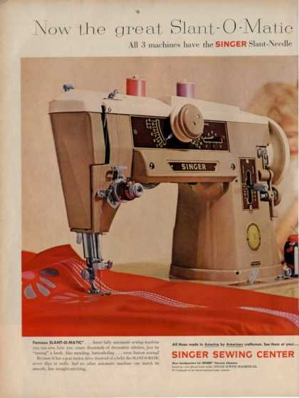 Singer Sewing Slant O Matic Machine (1959)