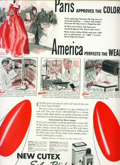 Cutex Salon Polish Ad Bright Red Color (1940)