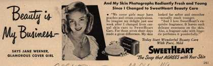 SweetHeart – Beauty is My Business- Says Jane Werner, Famous Cover Girl (1949)