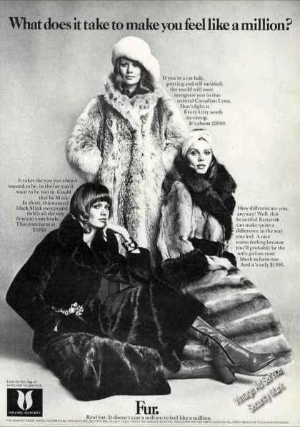 "Fur Fashion Ad ""Makes You Feel Like a Millionaire"" (1972)"