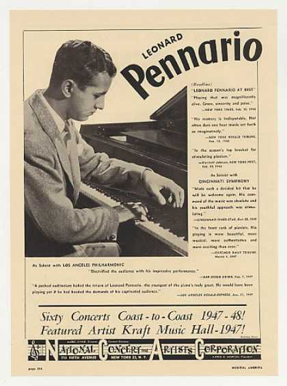 Pianist Leonard Pennario Photo Booking (1948)