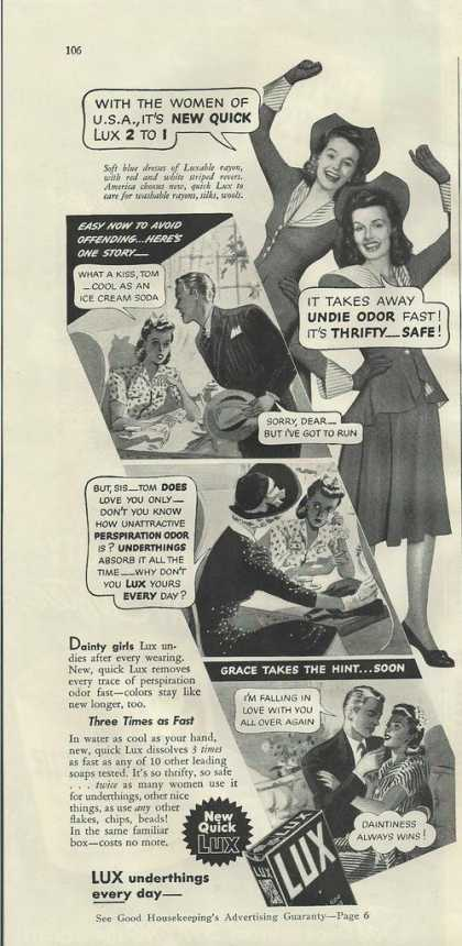 Lux Soap Cleans Underthing (1941)