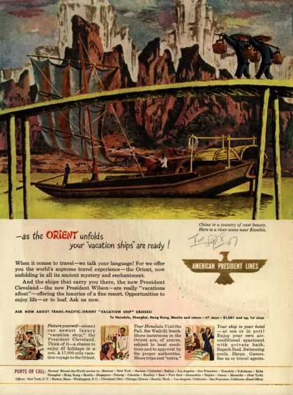 "American President Line's The Orient – As the Orient unfolds your ""vacation ships"" are ready (1947)"