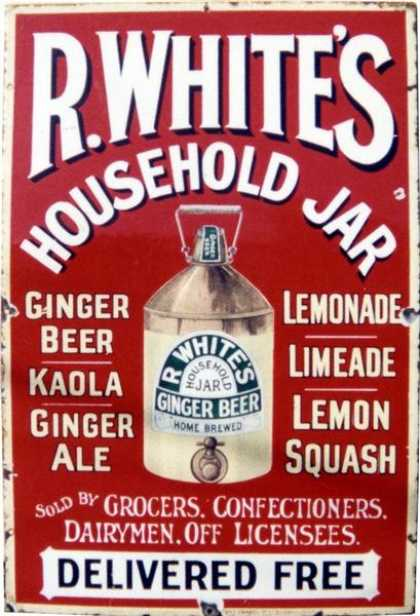 R Whites Stone Ginger Beer Flagon Sign