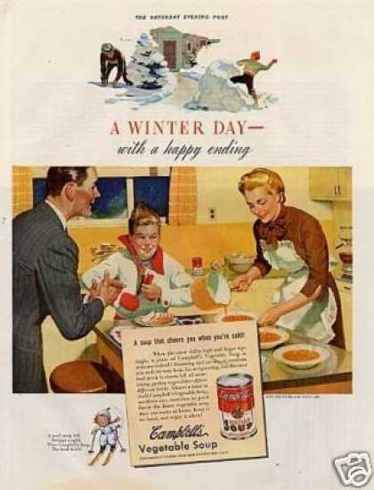 "Campbell's Vegetable Soup Ad ""A Winter Day... (1940)"