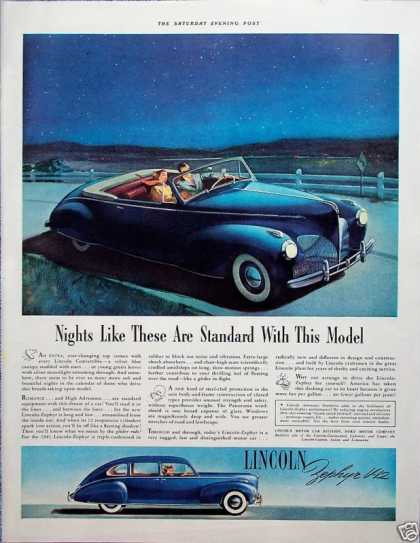 Lincoln Zephyr Convertible Night Time Drive Stars (1941)