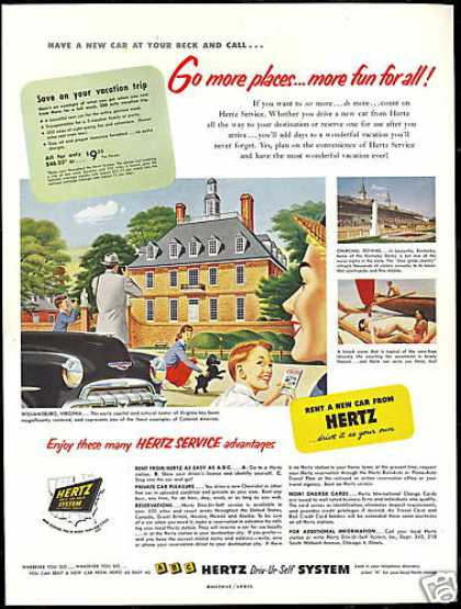 Williamsburg Virginia Hertz Rent A Car (1952)