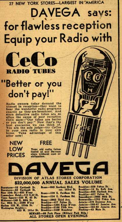 CeCo Manufacturing Company's Radio Tubes – Davega says: for flawless reception Equip your Radio with CeCo (1931)