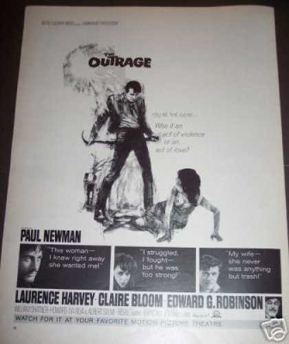 Movie Ad the Outrage Paul Newman Edward G Robinson (1964)