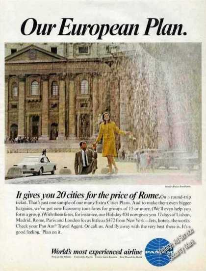 Pan Am Travel Ad Rome's Piazza San Pietro Photo (1967)