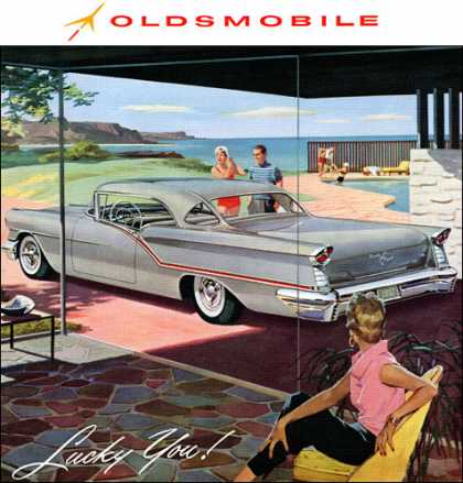 . . . enjoying the luxury of a Starfire 98! Oldsmobile Starfire 98 Holiday Coupe (1957)