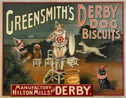 "Circus Dogs Advertising Greensmiths Derby"" Dog Biscuits"""