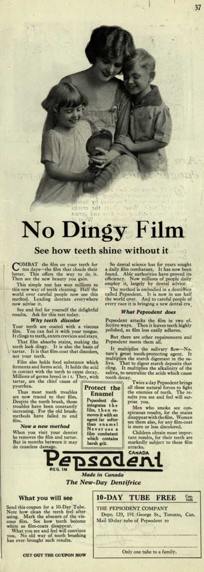 Pepsodent Company's tooth paste – No Dingy Film (1924)