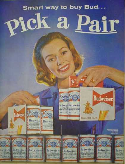 Budweiser Beer Pick a Pair Smart way to buy Bud (1960)