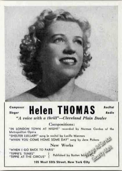 Helen Thomas Composer Singer Recital Radio (1945)