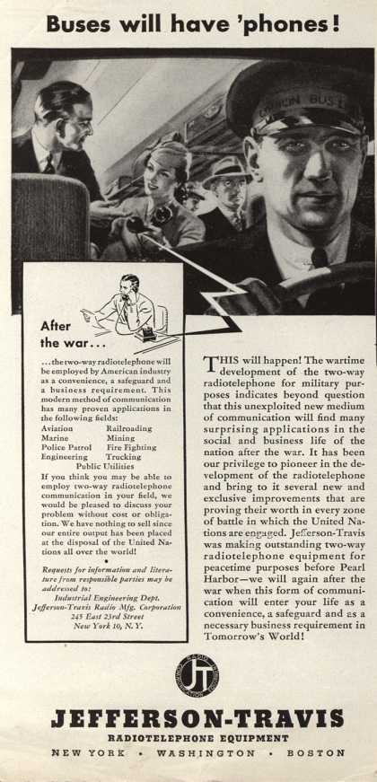 Jefferson-Travis Radio Manufacturing Corporation's Radiotelephone – Buses will have 'phones (1943)