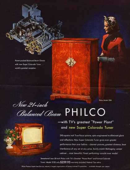 Philco's Television – New 21-inch Balanced Beam PHILCO (1952)