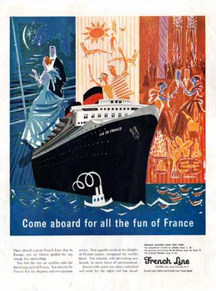 French Line Cruise Ship France Drasnin Art (1957)