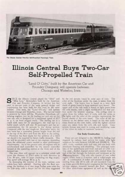 """I.c. Buys Two-car Train"" Article/land O' Corn (1941)"