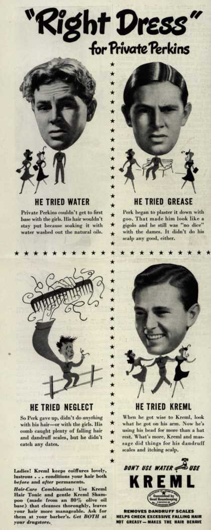 "Kreml's hair tonic – ""Right Dress"" for Private Perkins (1942)"