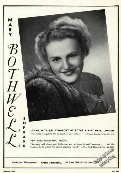 Mary Bothwell Photo Opera Rare Ad Music (1948)