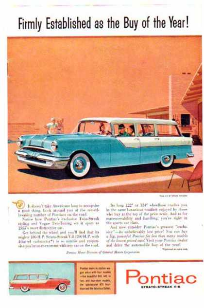 Pontiac Car – The 870 Strato-Streak V-8 Wagon / Aqua & White (1955)