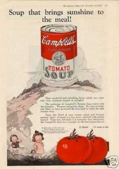 "Campbell's Tomato Soup Color Ad ""Soup That Brings (1924)"