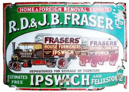 R.D & J.B Fraser Removals Enamel Sign