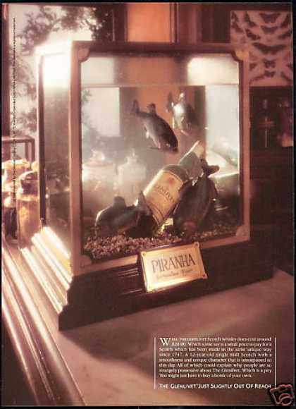 Glenlivet Scotch Bottle Piranha Fish Tank (1988)