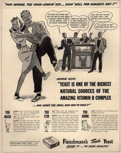 """Fleischmann's Fresh Yeast – """"Yeast is one of the richest natural sources of the amazing vitamin B complex... and here is the swell new way to take it"""" (1941)"""