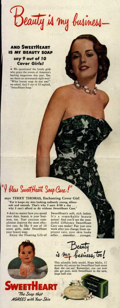 SweetHeart – Beauty is my business- And SweetHeart Is My Beauty Soap say 9 out of 10 Cover Girls (1949)