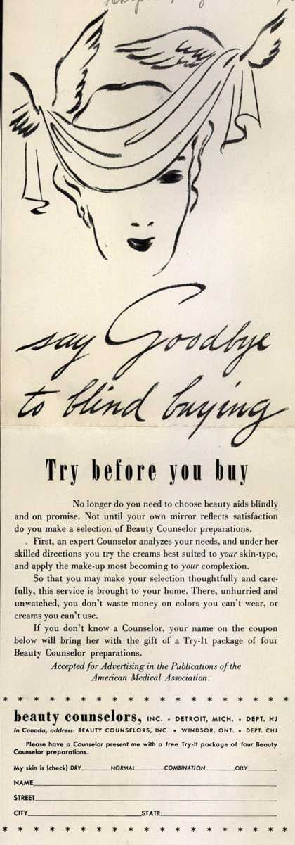 Beauty Counselor's Cosmetics – say Goodbye to blind buying (1940)