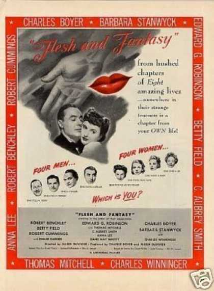 "Movie Ad ""Flesh and Fantasy"" Barbara Stanwyck (1943)"