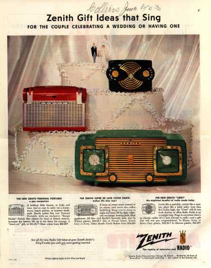 Zenith Radio Corporation's Various – Zenith Gift Ideas that Sing for the Couple Celebrating a Wedding or Having One (1953)
