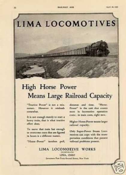 "Lima Locomotive Ad ""High Horse Power... (1925)"