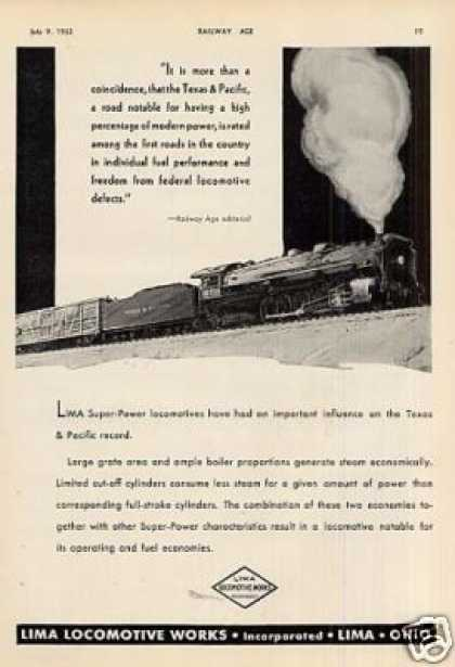 Lima Locomotive Ad Texas & Pacific #600 (1932)