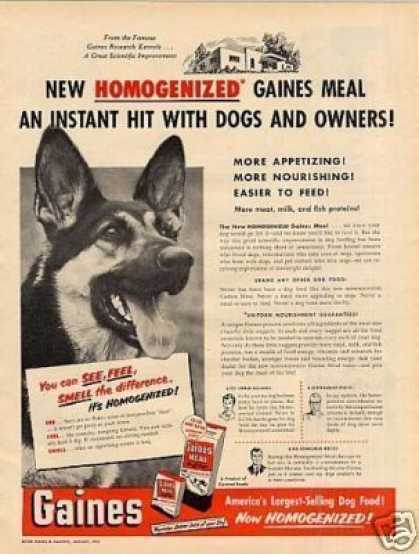 Gaines Dog Meal Ad German Shephard (1952)