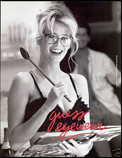 Claudia Schiffer Sexy Photo Guess Eyewear (1990)