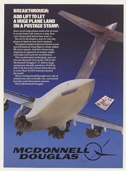 McDonnell Douglas Test Aircraft Land on Stamp (1985)