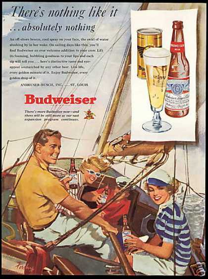 Sailboat Sailing Art Budweiser Beer (1949)