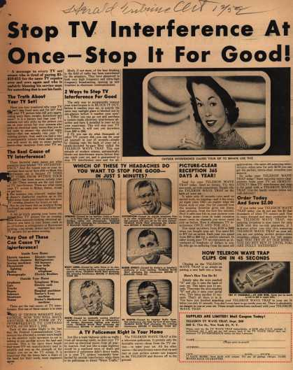 Teletron TV Wave Trap – Stop TV Interference AT Once – Stop It For Good (1952)