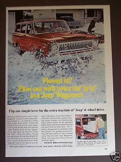 Jeep Wagoneer Plows Through Snow Car Photo (1967)