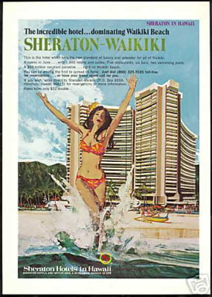 Hawaii Sheraton Waikiki Beach Hotel Boyle Art (1971)