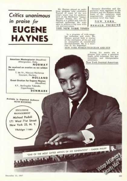 Eugene Haynes Photo Rare Ad Music Piano (1967)
