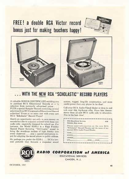 RCA Scholastic Record Players Model EDR-2 EDR-1 (1957)