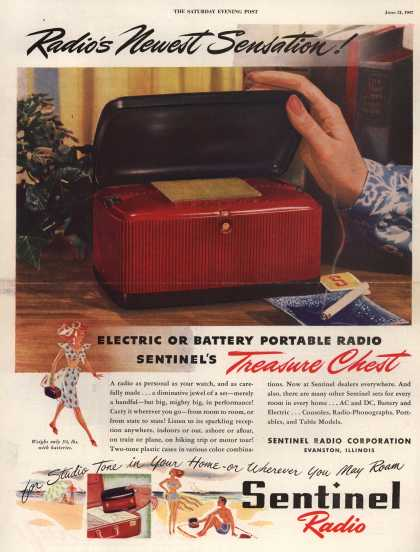 Sentinel Radio Corporation's Electric or Battery Portable Radio – Radio's Newest Sensation (1947)