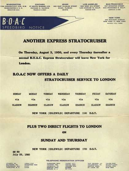British Overseas Airways Corporation's London – ANOTHER EXPRESS STRATOCRUISER (1950)
