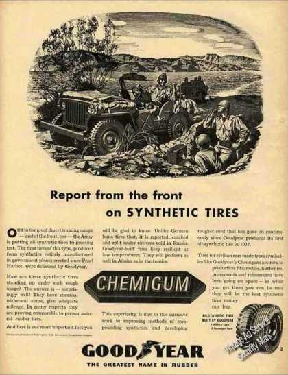 Goodyear Synthetic Tires Wwii Jeep Collectible (1943)